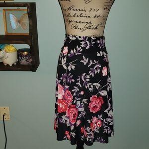 New LulaRoe Azure Rose Floral Midi A-line Skirt